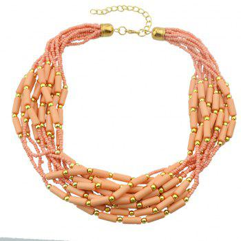Colorful Multilayer Bead Chain Necklace for Women - multicolor C