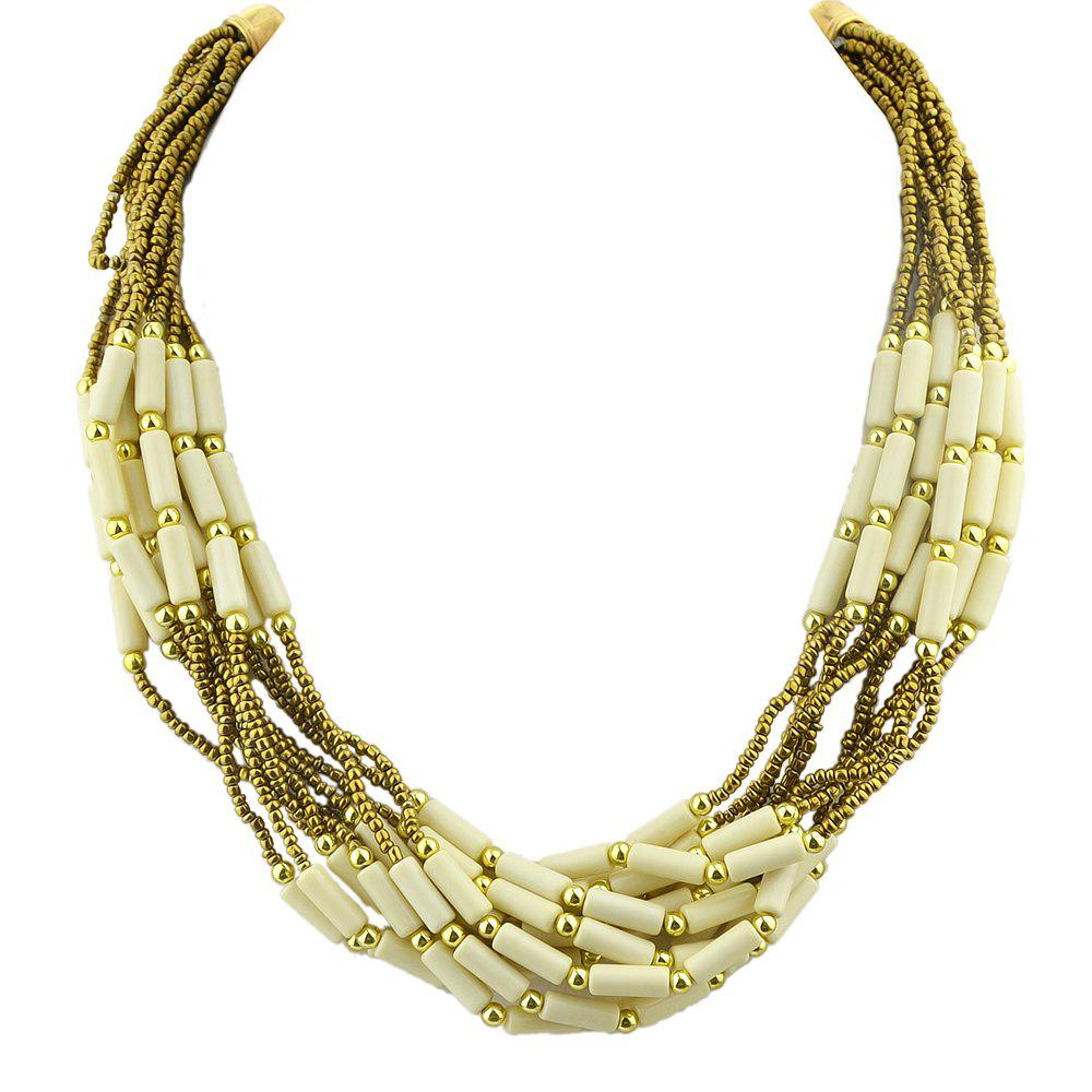Colorful Multilayer Bead Chain Necklace for Women - multicolor A