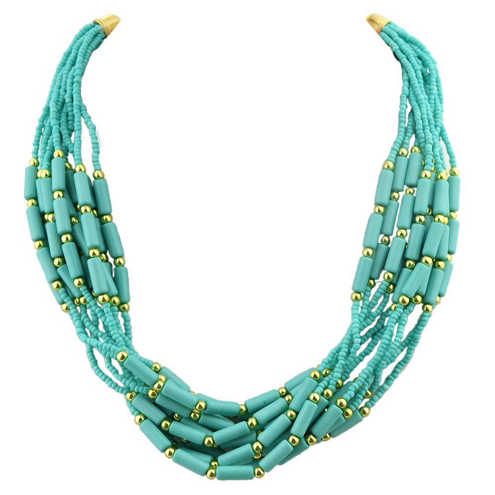 Colorful Multilayer Bead Chain Necklace for Women - multicolor B