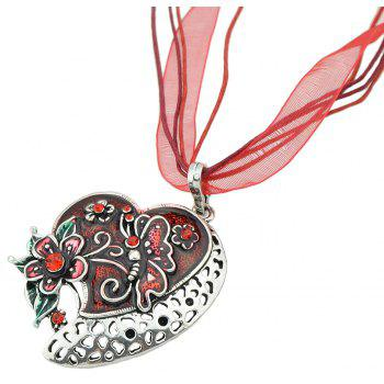 Colorful Hollow-out Peach Heart Carved Pendant Necklace - multicolor D