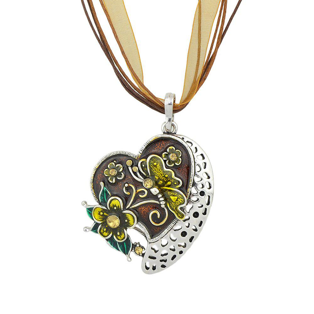 Colorful Hollow-out Peach Heart Carved Pendant Necklace - multicolor A