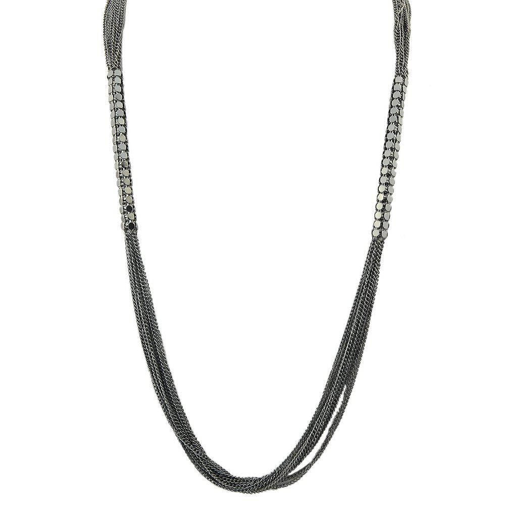 Textured Multi layer Sweater chain Necklace - BLACK
