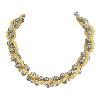 Beautiful Colorful Bead Chain Necklace for Women - multicolor B