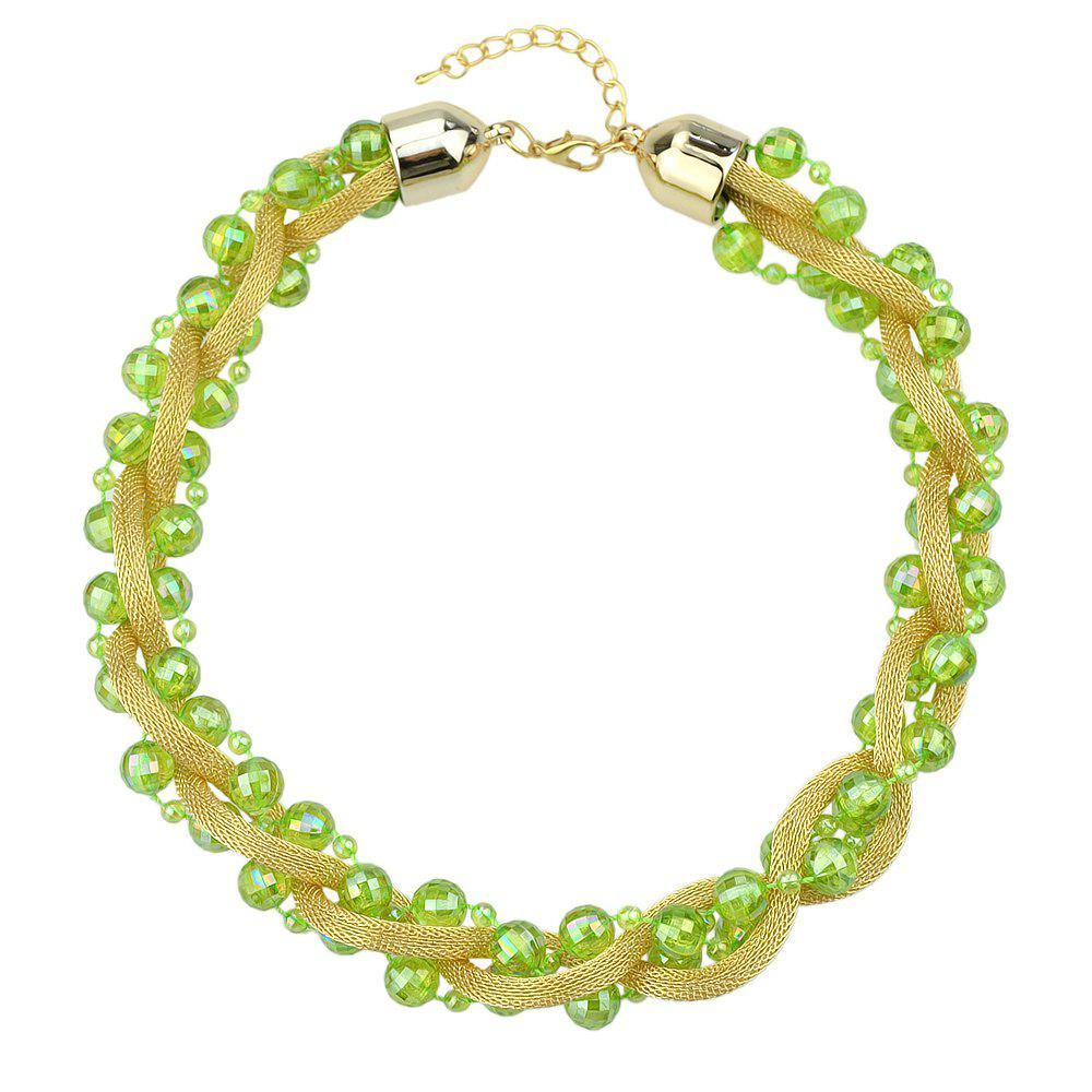 Beautiful Colorful Bead Chain Necklace for Women - multicolor C