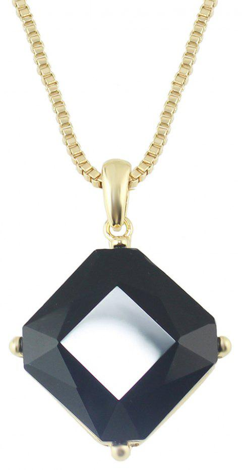Metal Long Chain Square Gemstone Pendant Necklace - BLACK
