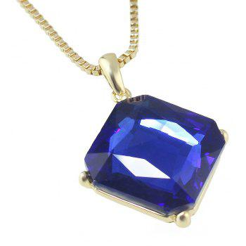 Metal Long Chain Square Gemstone Pendant Necklace - BLUE