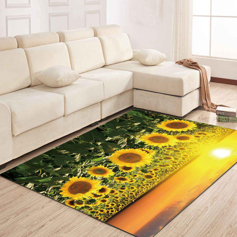 Simple North Europe Style Rug Sunflower Pattern Floor Mat Living Room Bedroom - SAFFRON 120X160CM