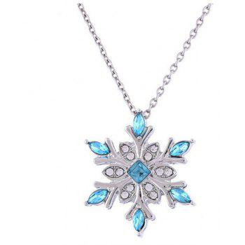 Water Blue Snowflake Diamond Pendant Necklace - CRYSTAL BLUE