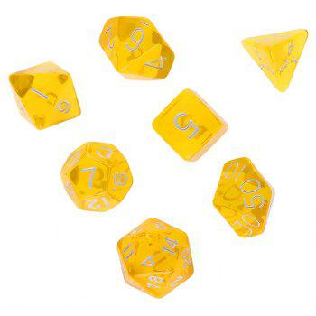 Polyhedral Dice Color Math Game Set 7PCS - RUBBER DUCKY YELLOW