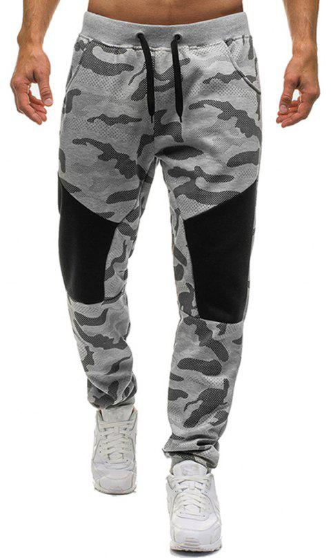 Men's Fashion Camouflage Personality Stitching Tether Wild Casual Pants - GRAY L