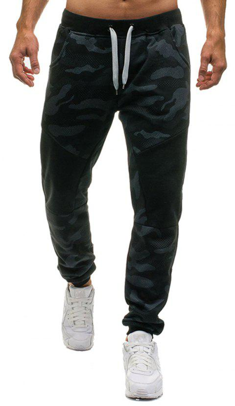 Men 's Fashion Camouflage Personnalisation Couture Tether Wild Pantalons Casual - Marbre Bleu XL