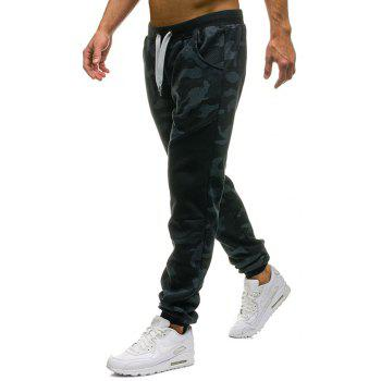 Men's Fashion Camouflage Personality Stitching Tether Wild Casual Pants - MARBLE BLUE 2XL