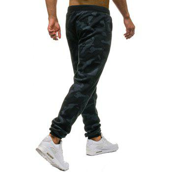 Men's Fashion Camouflage Personality Stitching Tether Wild Casual Pants - MARBLE BLUE L