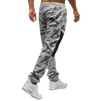 Men's Fashion Camouflage Personality Stitching Tether Wild Casual Pants - GRAY XL