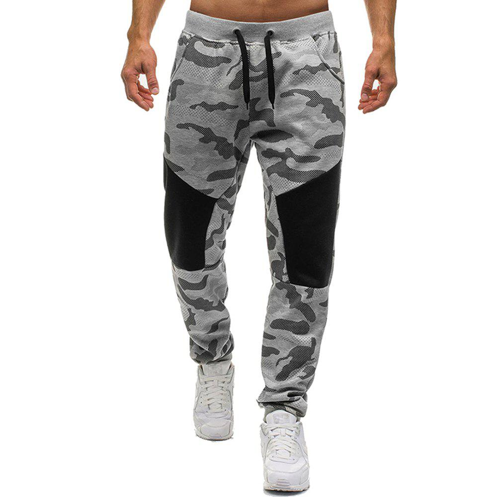 Men's Fashion Camouflage Personality Stitching Tether Wild Casual Pants - GRAY M