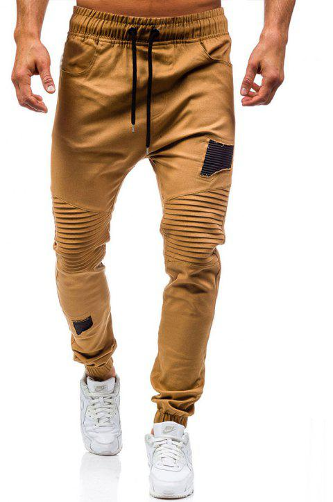 Men's Fashion Stitching Trend Knee Folds Tie Casual Pants - CAMEL BROWN L