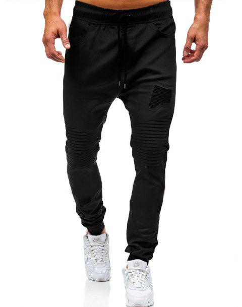 Men's Fashion Stitching Trend Knee Folds Tie Casual Pants - BLACK L