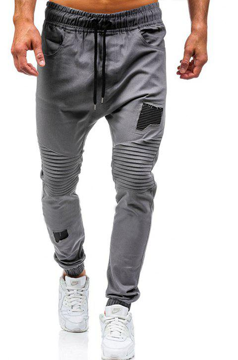 Men's Fashion Stitching Trend Knee Folds Tie Casual Pants - GRAY 2XL