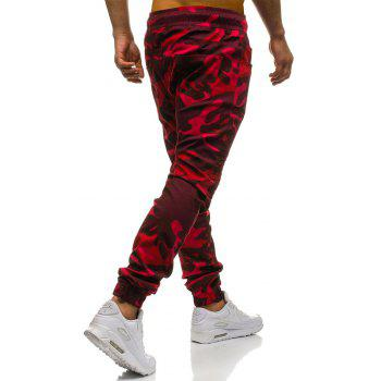 Men's Fashion Stitching Trend Knee Folds Tie Casual Pants - RED 3XL