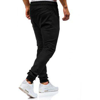 Men 's Fashion Stitching Trend Knee Folds Tie Pantalons décontractés - Noir M