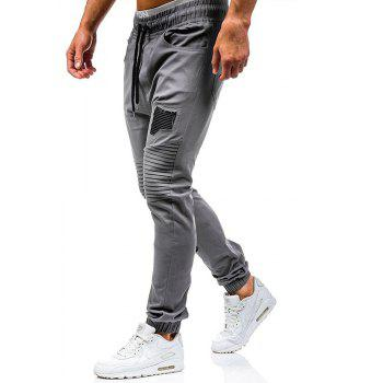 Men's Fashion Stitching Trend Knee Folds Tie Casual Pants - GRAY XL
