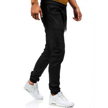 Men 's Fashion Stitching Trend Knee Folds Tie Pantalons décontractés - Noir L