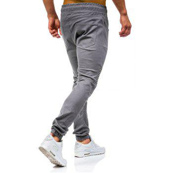 Men 's Fashion Stitching Trend Knee Folds Tie Pantalons décontractés - Gris M