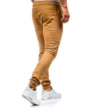 Men's Fashion Stitching Trend Knee Folds Tie Casual Pants - CAMEL BROWN 3XL