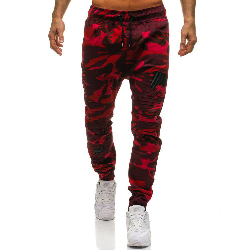 Men's Fashion Stitching Trend Knee Folds Tie Casual Pants - RED M