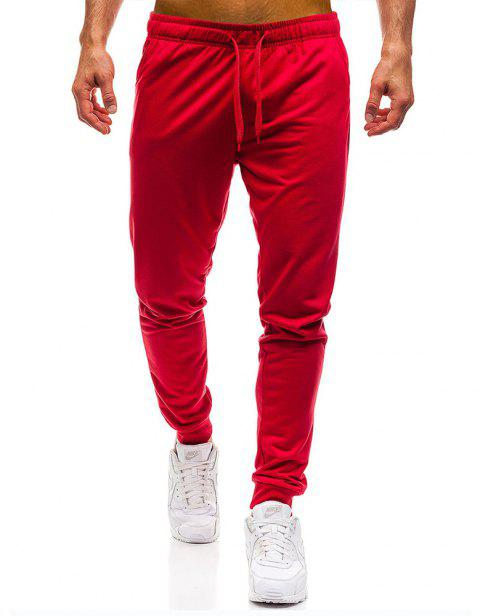 Men's Simple Solid Color Fashion Tether Casual Wild Loose Feet Pants - RED M