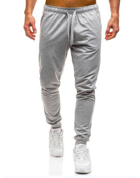 Men's Simple Solid Color Fashion Tether Casual Wild Loose Feet Pants - LIGHT GRAY L