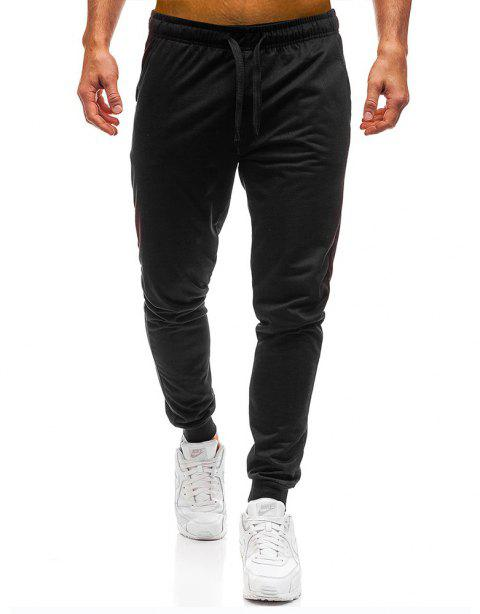 Men's Simple Solid Color Fashion Tether Casual Wild Loose Feet Pants - BLACK XL
