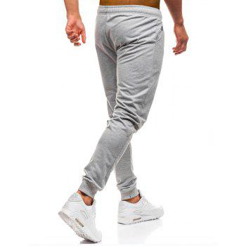 Men's Simple Solid Color Fashion Tether Casual Wild Loose Feet Pants - LIGHT GRAY M