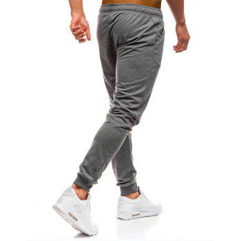 Men's Simple Solid Color Fashion Tether Casual Wild Loose Feet Pants - DARK GRAY M