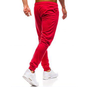 Men's Simple Solid Color Fashion Tether Casual Wild Loose Feet Pants - RED 2XL