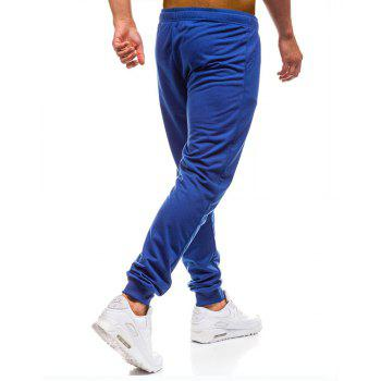 Men's Simple Solid Color Fashion Tether Casual Wild Loose Feet Pants - BLUE L