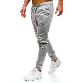 Men's Simple Solid Color Fashion Tether Casual Wild Loose Feet Pants - LIGHT GRAY XL