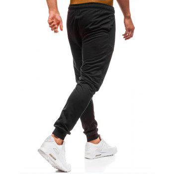 Men's Simple Solid Color Fashion Tether Casual Wild Loose Feet Pants - BLACK L