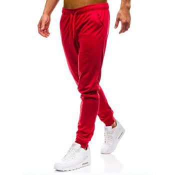 Men's Simple Solid Color Fashion Tether Casual Wild Loose Feet Pants - RED L