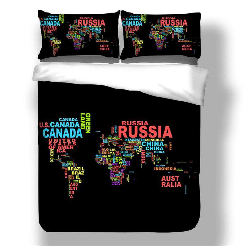 High Quality Personality Creative Design Letter Map Three-Piece - multicolor TWIN