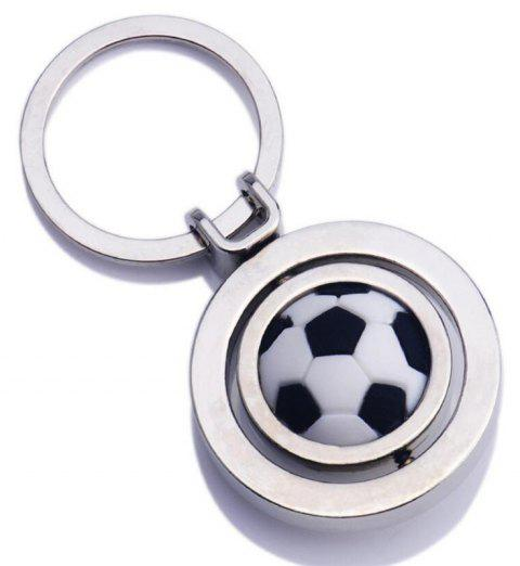 Rotating Football Metal Leather Keychain - SILVER