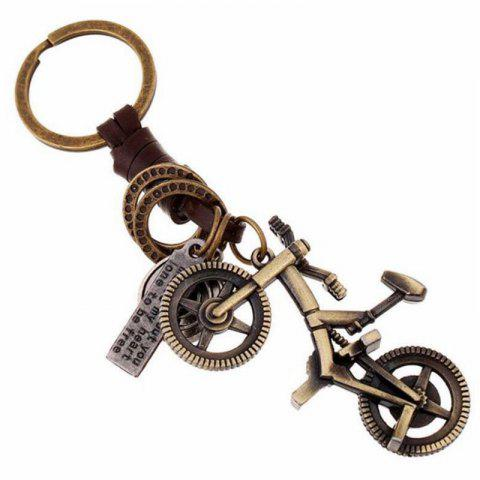 Creative Alloy Bicycle Vintage Woven Keychain Leather Pendant - multicolor