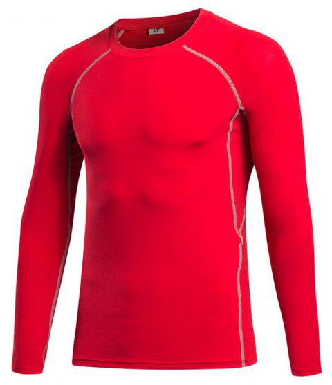 Men's Fitness Running Sweat Quick Dry Long Sleeve T-Shirts - RED S