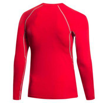 Men's Fitness Running Sweat Quick Dry Long Sleeve T-Shirts - RED L