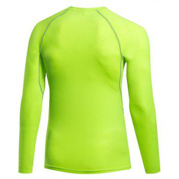 Men's Fitness Running Sweat Quick Dry Long Sleeve T-Shirts - GREEN S