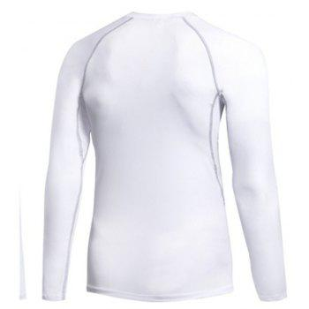 Men's Fitness Running Sweat Quick Dry Long Sleeve T-Shirts - WHITE L