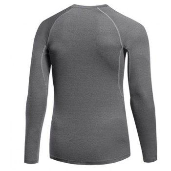 Men's Fitness Running Sweat Quick Dry Long Sleeve T-Shirts - GRAY S