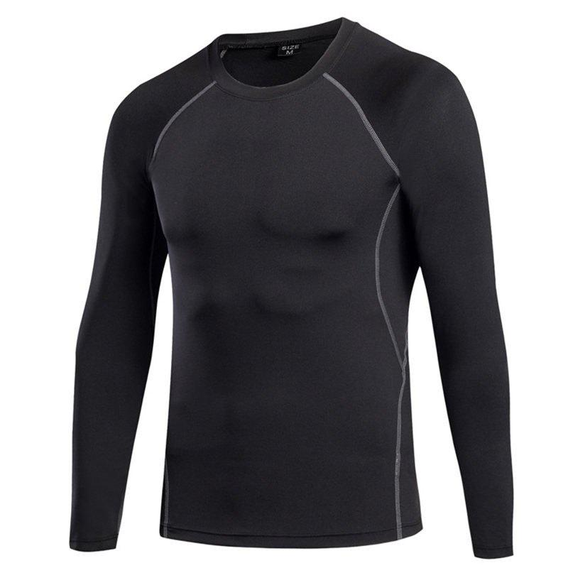 Men's Fitness Running Sweat Quick Dry Long Sleeve T-Shirts - BLACK S