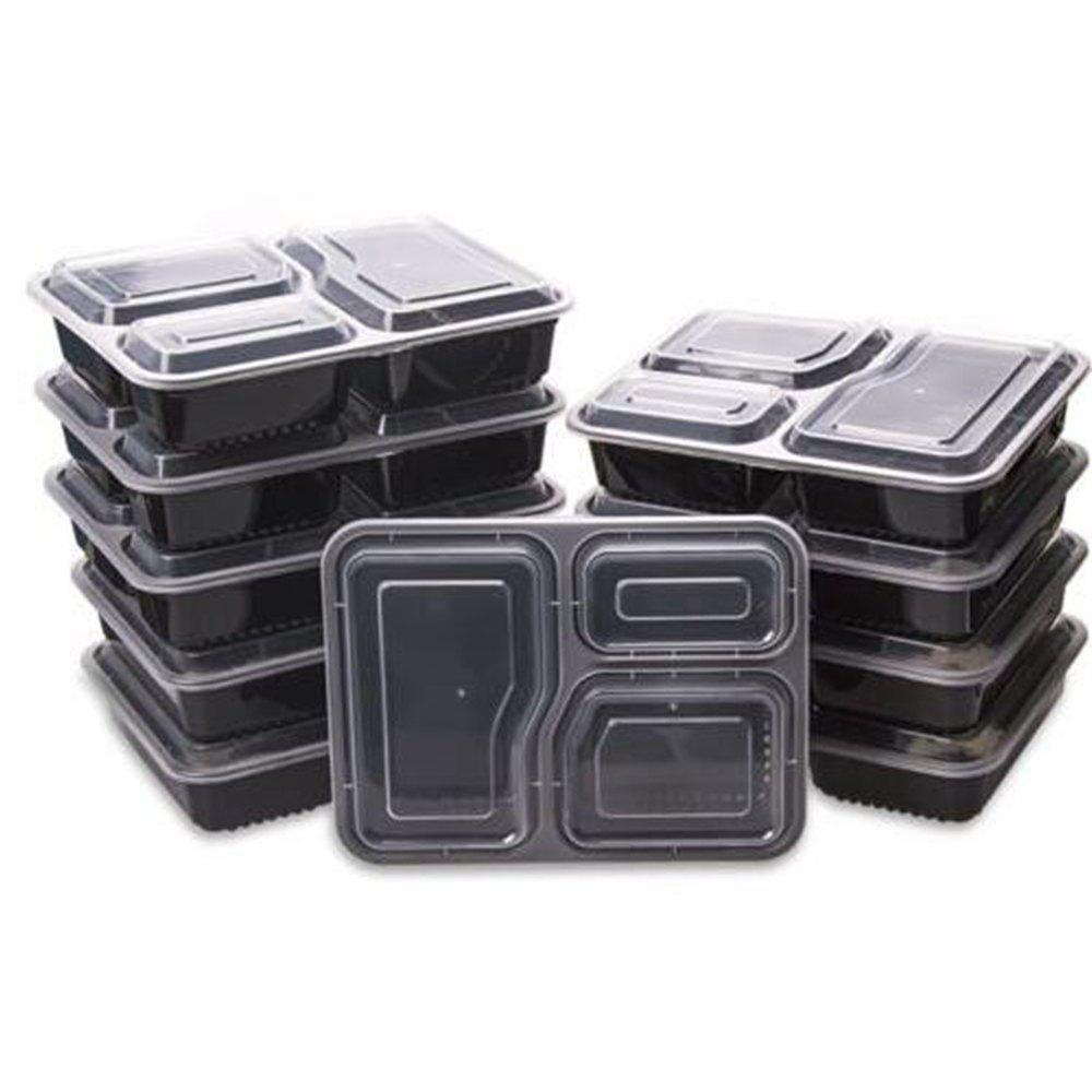 10Pcs Microwave 3 Compartment Plastic Lunch Box Food Storage Meal Prep Container - BLACK
