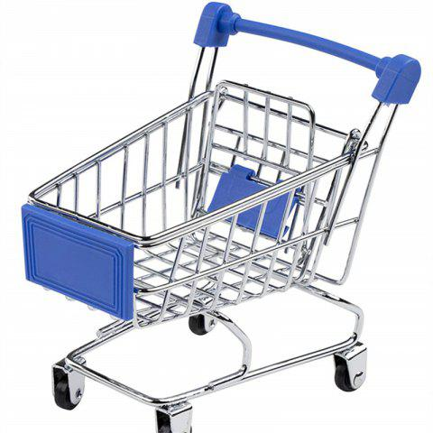 Mini Supermarket Handcart Shopping Utility Cart Mode Storage Toy - BLUE